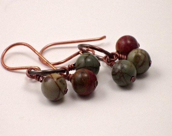 SALE Artisan Gemstone Earrings - Petite Dangle - Earthy Bohemian Jewelry - Gift Under 15 - -- JUNIPER