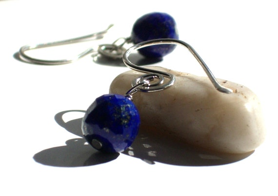 Minimalist Gemstone Earrings- Blue Lapis- Dangle Earrings- Simple-- JAIMIE