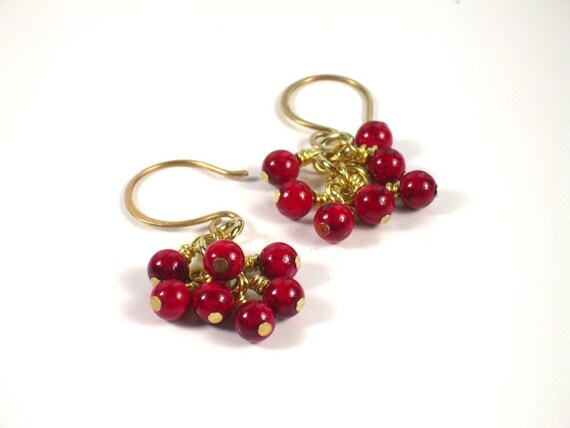 Red Cluster Earrings. Gemstone. Simple Everyday Jewelry.  LANAI
