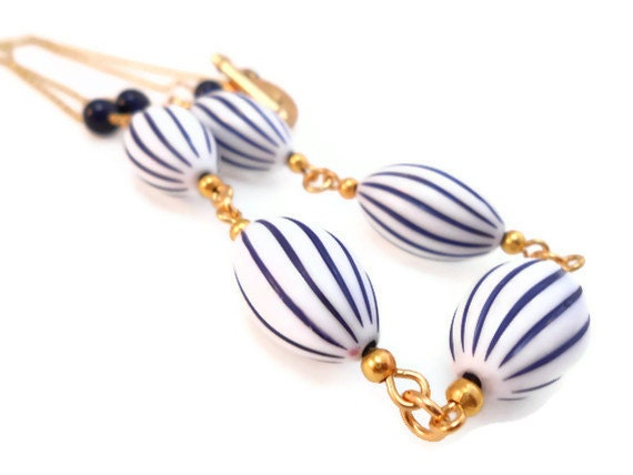 Nautical Necklace, White and Navy Blue Stripes Vintage Lucite and Gold Plated Chain- -MARIN