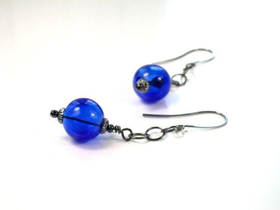 Cobalt Blue Earrings . Hand Blown Hollow Glass . Urban Chic Jewelry .   BINDA