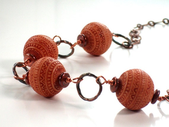 Terracotta Beaded Necklace . Vintage Etched Beads . Orange and Copper . Southwestern Flair .  LALITA