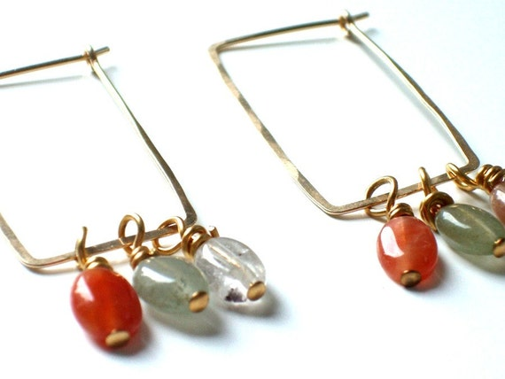 SALE Gemstone Hoop Earrings . Urban Chic Jewelry . Handcrafted Gold Filled Rectangle Hoops with Quartz Beads -  WYNNE