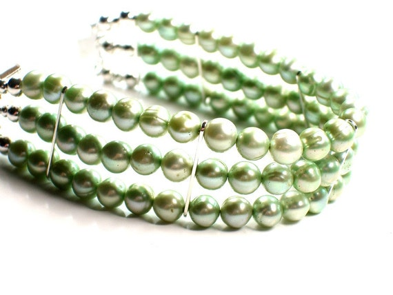 SALE Beaded Pearl Bracelet . Mad Men Inspired Sea Foam Green . Three Strands . Boutique Jewelry Vintage Style . Feminine Gift .  YASMINE