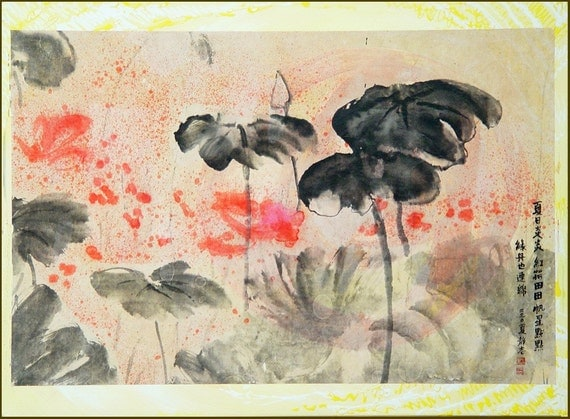 Lotus in Chinese Pond,  40 x 30, 2010-18,  Framed