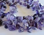 RESERVED - Light & Dark Amethyst Gemstones, Tumbled chips, 3 FULL STRAND