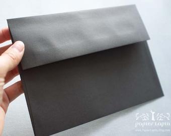 """Dark gray 5.5"""" & A7 envelope / set of 20 / peel and press / seal and send / no licking!"""