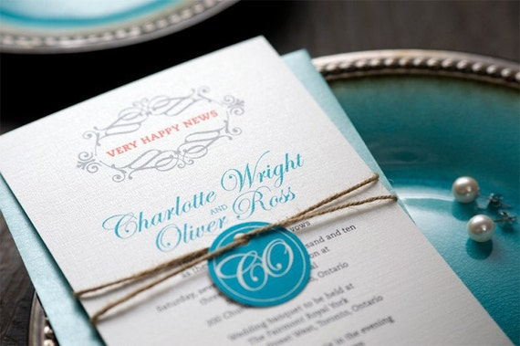 Treasures: Eco Wedding Invitation / Silver metallic linen paper with hemp twine / Elegant, Turquoise, pearl, swirl, sophisticated [DEPOSIT]