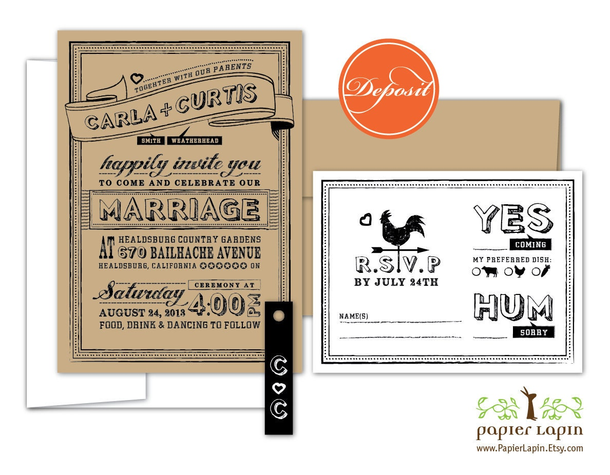 Quirky Wedding Invitation: Chalky Quirky Wedding Invitation Eco Friendly By PapierLapin