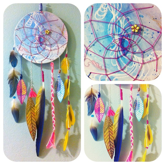 Watercolor Dream Catcher with hand painted & tropical feathers, FREE SHIPPING