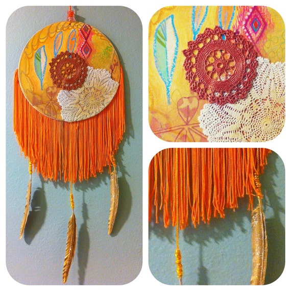 Orange Fringed DreamCatcher with glitter feathers and handpainted details