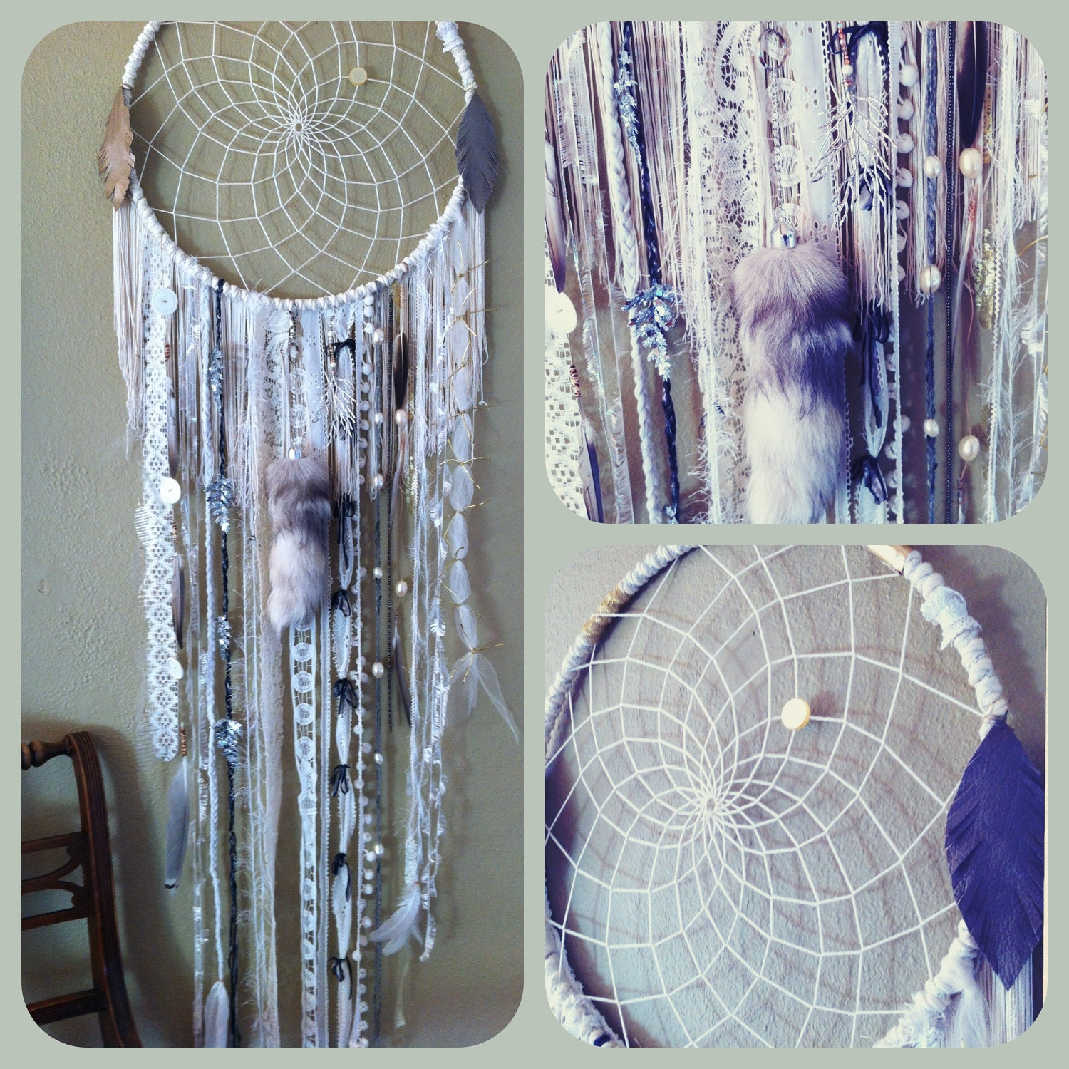 Huge White Dream Catcher Free Shipping Vintage Trims