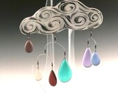 Fused Glass Rain Cloud Mobile, Sgraffito Glass Light Catcher
