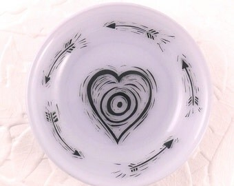 Love Target Fused Glass Dish Black Drawing