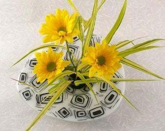 Fused Glass, Ikebana Vase Modern Black and White