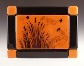 Glass Art, Fused Glass Wall TIle, Cattails and Blackbirds