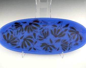 Fused Glass Platter, Royal Blue Coneflower Design