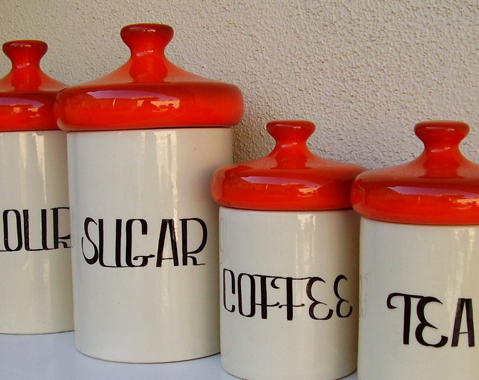 Vintage Kitchen: Ceramic Flour Sugar Coffee Tea