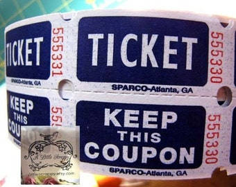 Double Tiered Stacked Raffle Navy, Red and White Tickets
