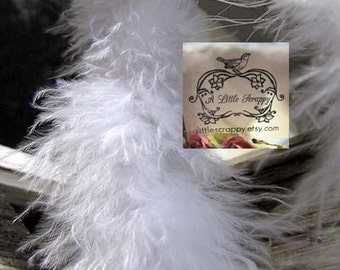 Marabou Boa Feathers White Small Short Haired