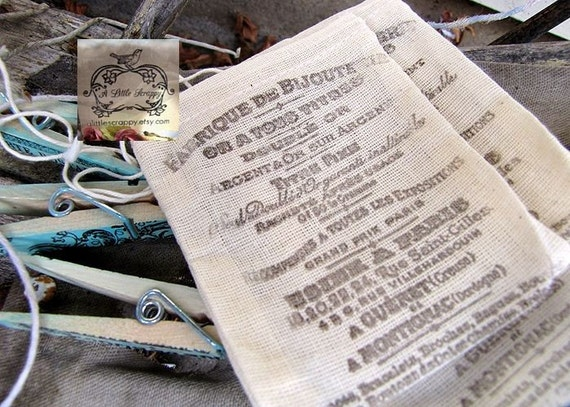 French  Hand Stamped Ink Cloth Bags