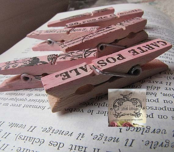 Mini Clothespins Pink with French Designs