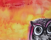 Original Water Color Painting Owl Orange and Pink Sky 8 x 6 by artist gidget.