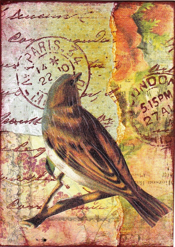 Bird IV. An original collaged / mixed media ACEO