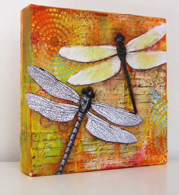 """Dragonflies - a mixed media collage on 8"""" x '8"""" canvas SOLD TO SALLY"""