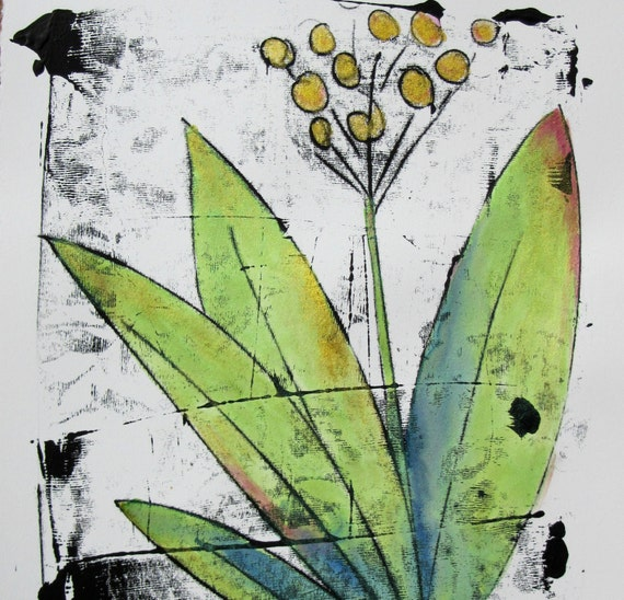 "Monoprint Flower - 11"" x 15"" with sparkle watercolors"