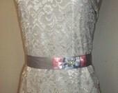 Bridal Sash Pink Gray Rhinestones Satin ribbon, wedding sash, bridal belt for wedding gown color choice