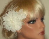 Ivory Chiffon Bridal Fascinator,Pearl Stamens, Hair Clip, Bridal Wedding, Special Occasion, Ship Ready