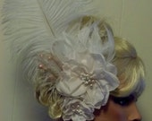 High Fashion Large Bridal Fascinator, light pink Hair Clip, Bridal Wedding, Special Occasion, Ship Ready