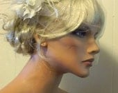 Ivory or white bridal hair fascinator and tulle bandeau wedding bridal veil,  feather fascinator -ship ready OOAK