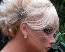 Ivory Bridal Fascinator, Wedding Hair Clip, Ivory Bridal Comb, Ivory Peacock Hair Clip, Ivory Bridal Veil, VIntage Style, Ivory Wedding Veil