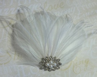 Bridal Fascinator, Wedding Hair Clip, Feather Fascinator, Bridal Hair Accessories,  Bridal Hair Comb, Wedding Hair Comb, Feather Hair Clip