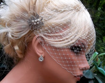 Wedding Fascinator and Wedding Veil, French Net Birdcage Veil, vintage style,Bridal Veil, Bridal Hair Clip, Wedding Comb, Bridal Comb, Ivory