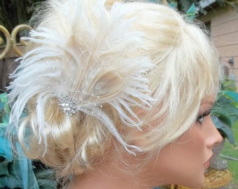 Ivory Bridal Fascinator, Feather Hair Clip, Ivory Wedding Hair Comb, Vintage Style, Wedding Fascinator, Ivory Fascinator, Ivory Hair Clip