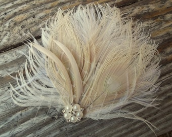 Ivory bridal hair fascinator  vintage style brooch, feather fascinator -ship ready OOAK