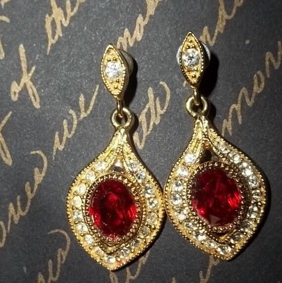 Vintage Earrings Roman Ruby Red Crystal Earrings - bridal, wedding, special occasion