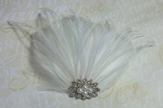 Bridal Fascinator, Wedding Hair Clip, Feather Fascinator, Bridal Hair Accessories,  Bridal Hair Comb, Wedding Hair Comb, Feather Hair Clip
