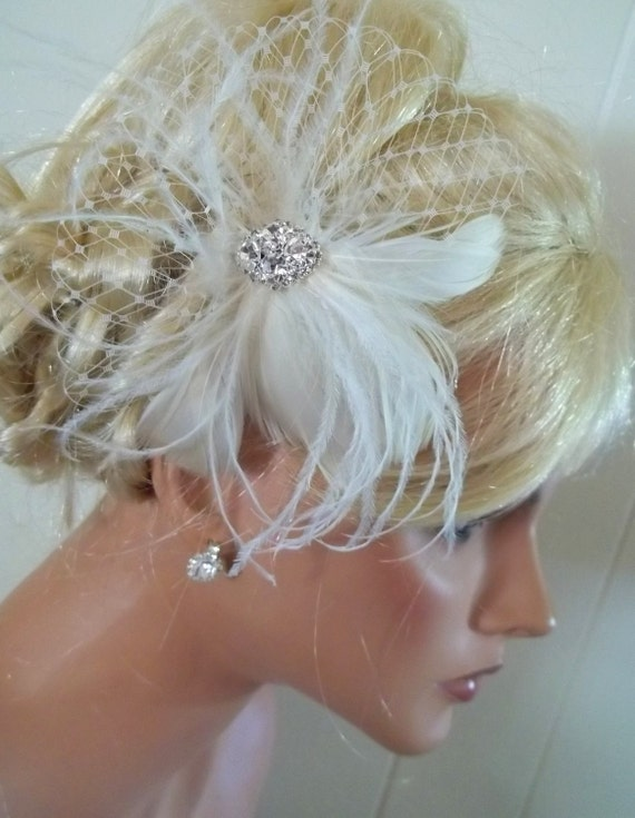 Ivory  bridal hair fascinator, feathers french net rhinestone jewel - feathered fascinator wedding hair clip