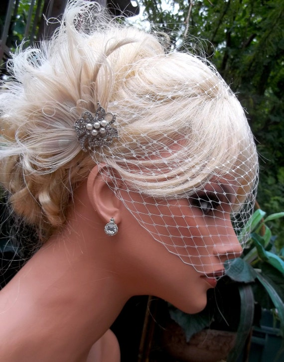 Ivory Bridal Fascinator, Wedding Hair Clip, Ivory Bridal Comb, Ivory Peacock Hair Clip, Ivory Bridal Veil, VIntage Style, Ivory Wedding Veil