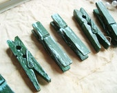 Pine & Sky (Green/Blue) Distressed Mini 2 Inch Clothespins Set of 6 - Woodland Wedding. Shabby Chic. Rustic Home Decor.