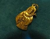Vintage Bronze Medal of Saint Francis Religious Catholic jewelry pendant necklace rosary charm bracelet