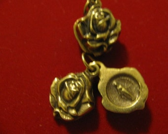 Bronze Rose Medal of Our Lady Miraculous medal Religious Jewelry pendant for rosary necklace bracelet