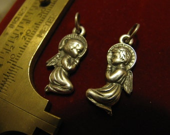 Silver Vintage Rare medal, medal set two angels archangels praying Religious Jewelry pendant set for rosary necklace chaplet, charm bracelet