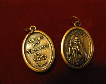 Copper Vintage medal of Saint Jude Religious Jewelry pendant for rosary necklace chaplet, charm bracelet