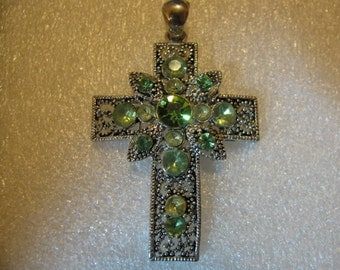 Silver rhinestone medal cross Religious Catholic jewelry pendant for necklace rosary, choker