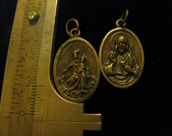 Vintage Bronze Medal of Our Lady Mount Carmel & Sacred Heart Jesus Religious Jewelry pendant for rosary, necklace, chaplet, charm bracelet